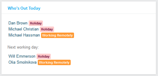 Holiday Planner Who's Out Component